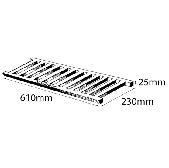 Grate Cast Iron 610x230x25mm