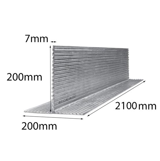 Lintel T Bar 200x200x7x2100mm Multi-Rib Galintel