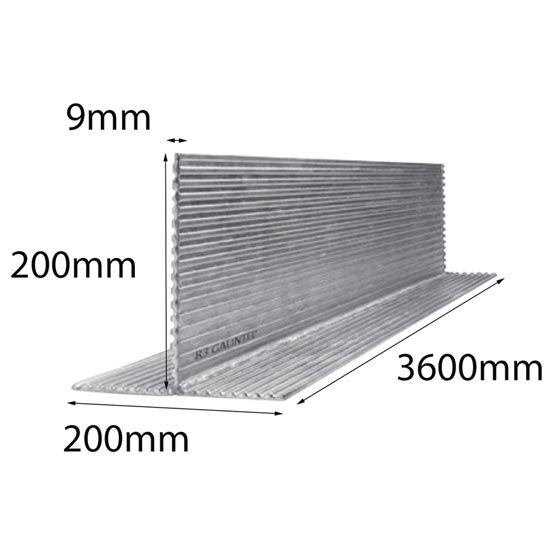 Lintel T Bar 200x200x9x3600mm Multi-Rib Galintel