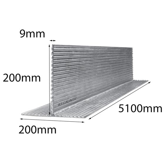 Lintel T Bar 200x200x9x5100mm Multi-Rib Galintel