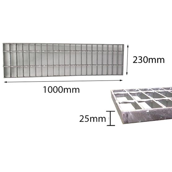 Trench Grate Only 230mmx25mmx1m Galvanised Class A