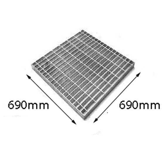 Grate Only Light Duty Galvanised 690x690x50mm