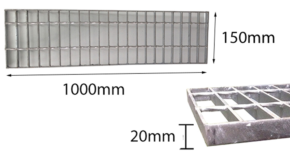 Trench Grate Only 150mmx20mmx1m Galvanised