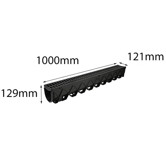 Reln Stormdrain Channel and Grate Black 1m