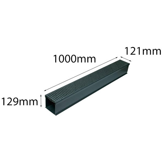 Reln Raindrain Channel & Grate with Joiner Heelguard Black 121mmx1m