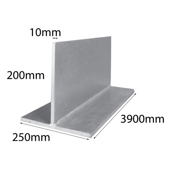 Lintel T Bar 200x200x10x3900mm Galintel