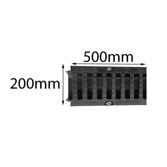 Drain SABdrain 704 Cast Iron Grate Only 500x200