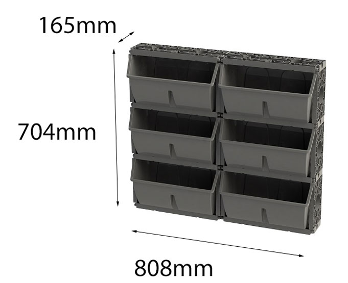 Vertical Garden Gro-Wall Slim Pro 6 Planter Trays Green Wall 704Hx808Wx165Dmm Atlantis
