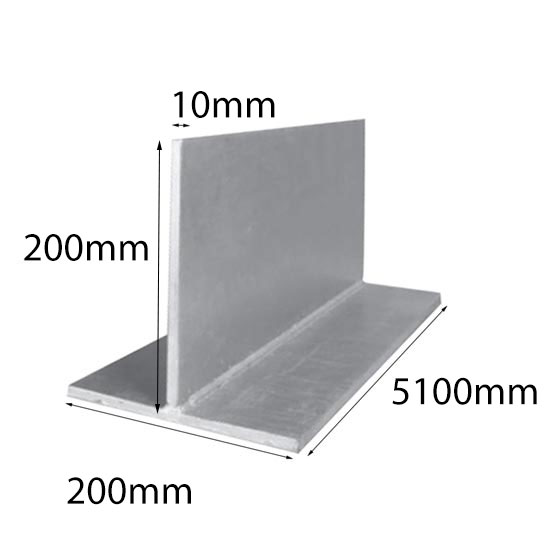 Lintel T Bar 200x10x200x6x5100 mm Galintel
