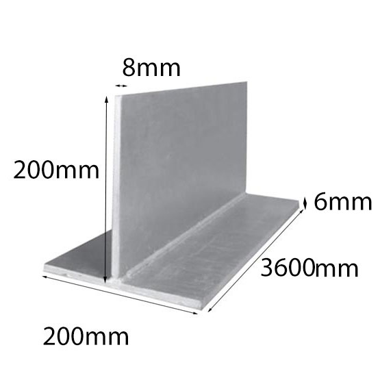 Lintel T Bar 200x8x200x6x3600 mm Galintel